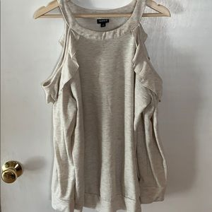 Light gray and cream cold shoulder top